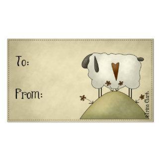 Diseño primitivo de las ovejas del país en etiquet tarjetas de visita