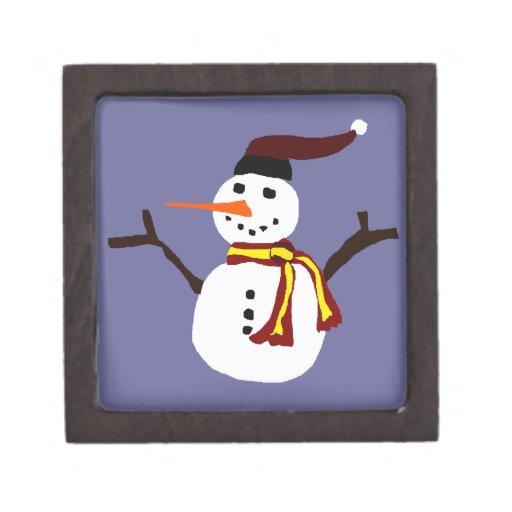 Diseño primitivo del arte del muñeco de nieve feli caja de regalo de calidad