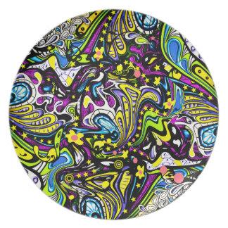 Diseño psicodélico de la placa del fiesta de los a plato para fiesta