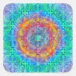 diseño psicodélico de la salida del sol infinita pegatinas cuadradas