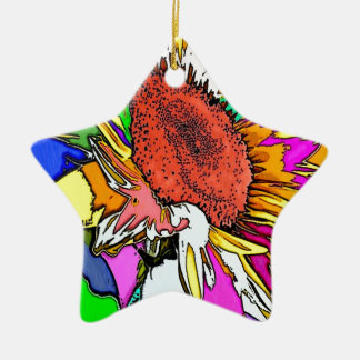 Diseño psicodélico de Moonflower Adorno De Cerámica En Forma De Estrella