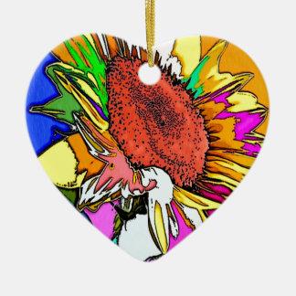 Diseño psicodélico de Moonflower Adorno De Cerámica En Forma De Corazón