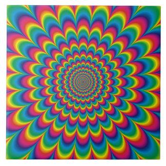 Diseño psicodélico del extracto del arco iris azulejo cuadrado grande