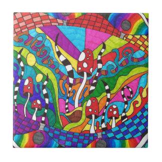 Diseño psicodélico del hippy del arco iris azulejo cuadrado pequeño