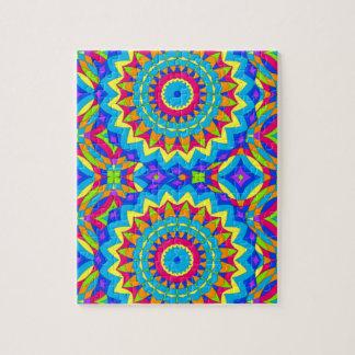 Diseño psicodélico - muy colorido rompecabezas con fotos