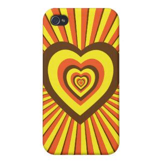 Diseño psicodélico retro maravilloso de los corazo iPhone 4 fundas
