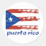 Diseño puertorriqueño de la bandera pegatina redonda