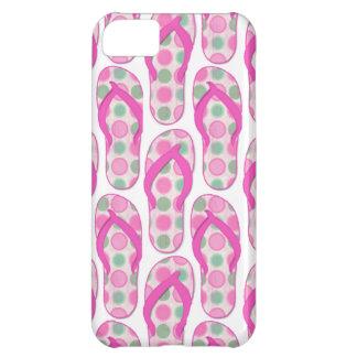 Diseño punteado polca rosada del flip-flop funda para iPhone 5C