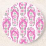 Diseño punteado polca rosada del flip-flop posavasos manualidades