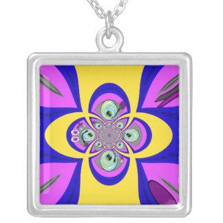 Diseño púrpura amarillo retro de la placa colgante cuadrado