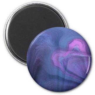 Diseño púrpura azul del arte abstracto imán redondo 5 cm