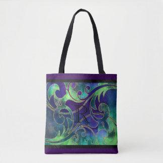 Diseño púrpura azulverde del brillo de la acuarela bolsa de tela