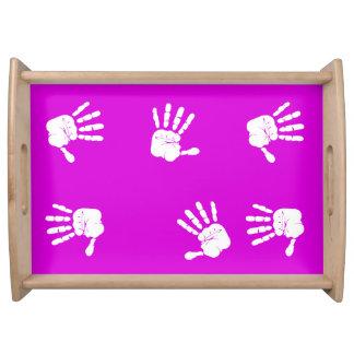Diseño púrpura blanco y de neón de las impresiones bandejas