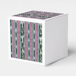 Diseño púrpura, blanco y negro del ikat cajas para regalos de boda