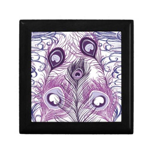 Diseño púrpura bonito elegante de las plumas del p cajas de recuerdo