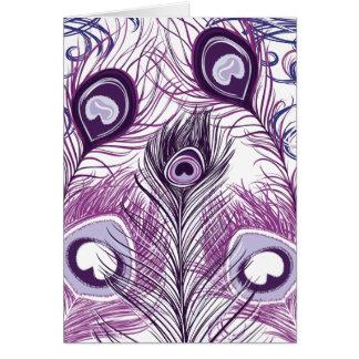 Diseño púrpura bonito elegante de las plumas del p felicitaciones