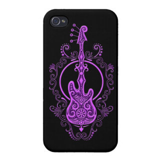 Diseño púrpura complejo de la guitarra baja en neg iPhone 4 cárcasa