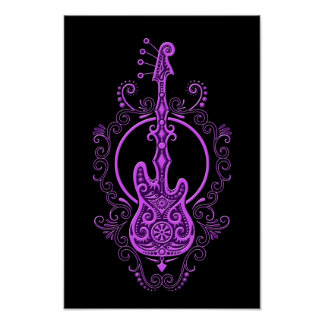 Diseño púrpura complejo de la guitarra baja en neg póster