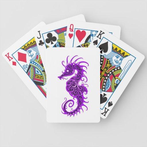 Diseño púrpura complejo del Seahorse en blanco Barajas De Cartas