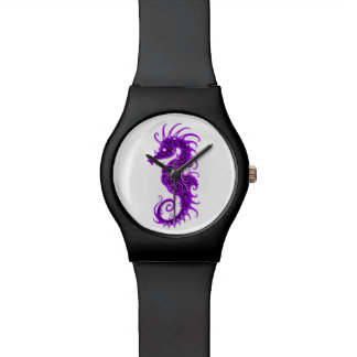 Diseño púrpura complejo del Seahorse en blanco Relojes De Mano