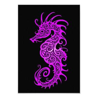 """Diseño púrpura complejo del Seahorse en negro Invitación 3.5"""" X 5"""""""