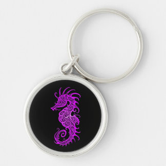 Diseño púrpura complejo del Seahorse en negro Llavero Personalizado