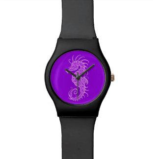 Diseño púrpura complejo del Seahorse Relojes De Mano