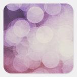 Diseño púrpura de Bokeh Calcomania Cuadrada Personalizada