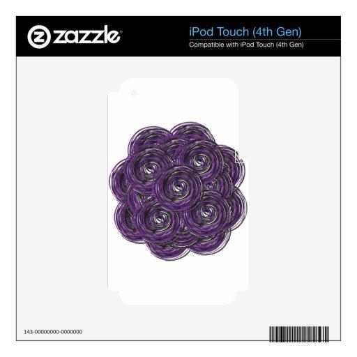 diseño púrpura de la caja del teléfono de la flor  calcomanía para iPod touch 4G