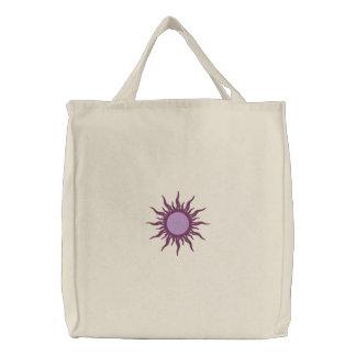 Diseño púrpura de la fantasía de Sun Bolsa De Tela Bordada