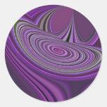Diseño púrpura de la galaxia pegatina redonda