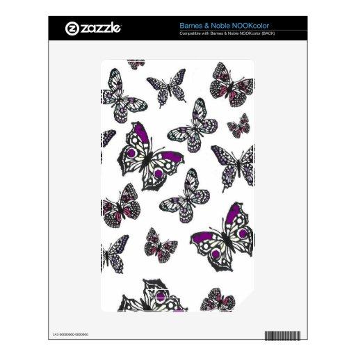 Diseño púrpura de la mariposa NOOK color calcomanía