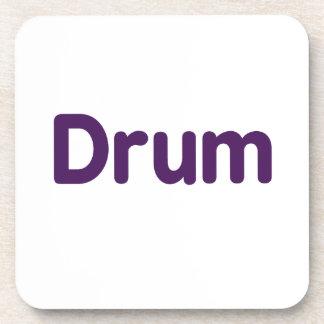 diseño púrpura de la música del texto del tambor posavasos