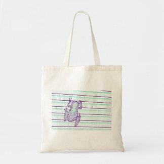 diseño púrpura de la rana verde en rayas bolsas de mano