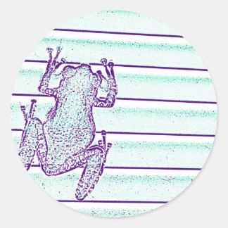 diseño púrpura de la rana verde en rayas pegatinas redondas