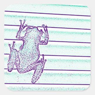 diseño púrpura de la rana verde en rayas pegatinas cuadradas