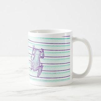 diseño púrpura de la rana verde en rayas tazas