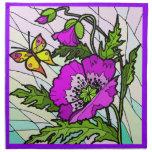 Diseño púrpura de la servilleta de la amapola