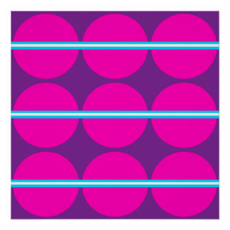 Diseño púrpura de las rayas del trullo de los luna poster