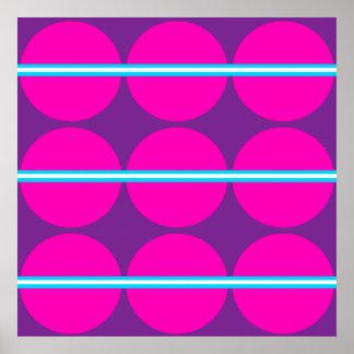 Diseño púrpura de las rayas del trullo de los luna póster