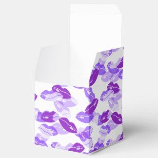 Diseño púrpura de los labios del amor del beso cajas para regalos de boda