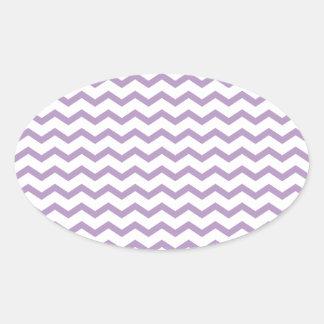 Diseño púrpura de moda de Chevron Pegatinas De Oval Personalizadas