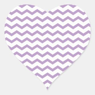 Diseño púrpura de moda de Chevron Pegatina En Forma De Corazón