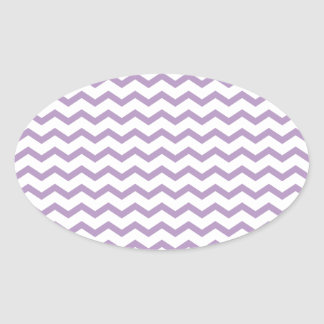 Diseño púrpura de moda de Chevron Pegatina Ovalada