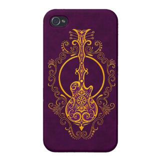 Diseño púrpura de oro complejo de la guitarra iPhone 4 coberturas