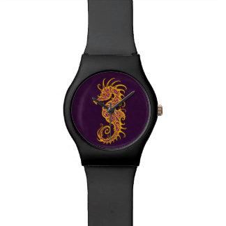 Diseño púrpura de oro complejo del Seahorse Reloj De Mano