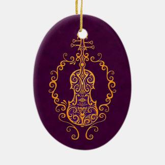 Diseño púrpura de oro complejo del violín adorno ovalado de cerámica