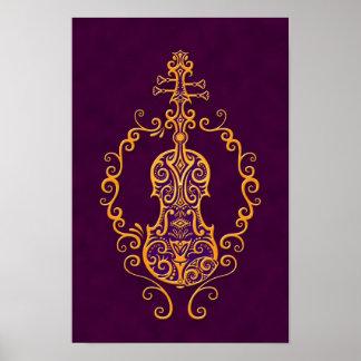 Diseño púrpura de oro complejo del violín póster