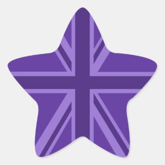 Diseño púrpura de Union Jack Pegatina En Forma De Estrella