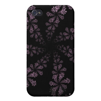 Diseño púrpura del amor del Hippie de la flor del  iPhone 4/4S Carcasa